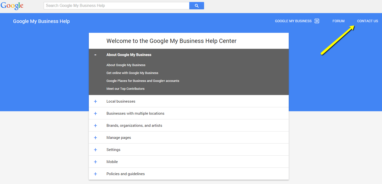 Google My Business help screen - no postcard arrived